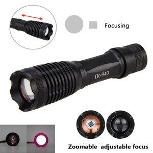 Image 3 - 10 واط IR 940nm مصباح يدوي التكتيكية LED للرؤية الليلية زوومابلي الأشعة تحت الحمراء التركيز بندقية مصباح الصيد الشعلة + 18650 بطارية + شاحن