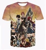 Cổ điển Anime Fairy Tail T-Shirts Natsu Dragneel/Lucy Heartphilia/Erza Scarlet Nhân Vật 3D t áo sơ mi Mens Casual tee CTE-014
