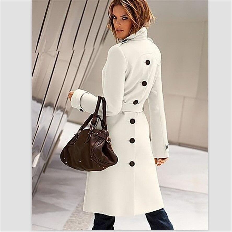 2013 London Fashion Designer European Trench Coat S XL White/Red ...