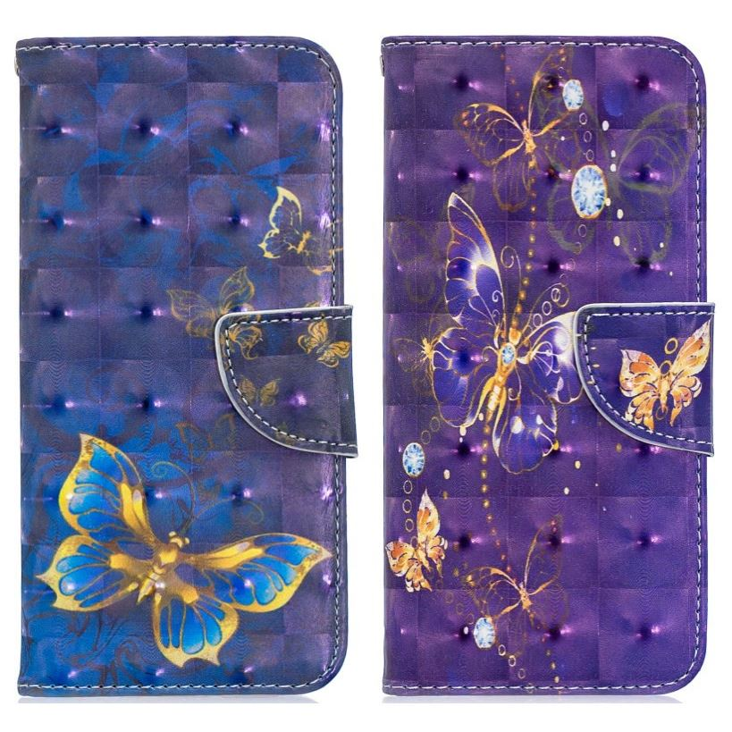 Butterfly Leather <font><b>Cover</b></font> Card Slot <font><b>For</b></font> Capa <font><b>Nokia</b></font> 2 3 5 7 <font><b>2018</b></font> <font><b>2.1</b></font> 3.1 5.1 7.1 Stand Cases 3D Embossing Lovely Pattern Frame D07Z image