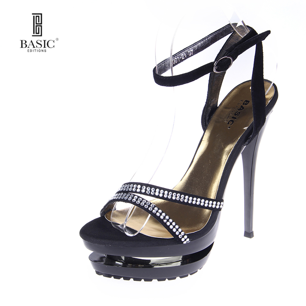 BASIC EDITIONS 2016 New Women High heels Fashion Casual Open-toed Slingback Diamonds Shoes-1091-21 цены онлайн