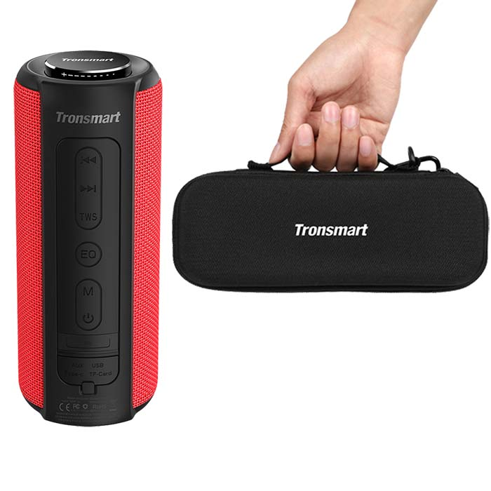 Tronsmart T6 Plus Bluetooth динамик Саундбар 40 Вт портативный динамик IPX6 Водонепроницаемый с голосовым ассистентом, глубокий бас - Цвет: Red and Case