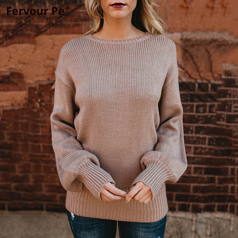 2019 New Autumn Winter Women Sweater Sexy Backless Bow Tie Back Frenulum Knitted Shirts MY19012