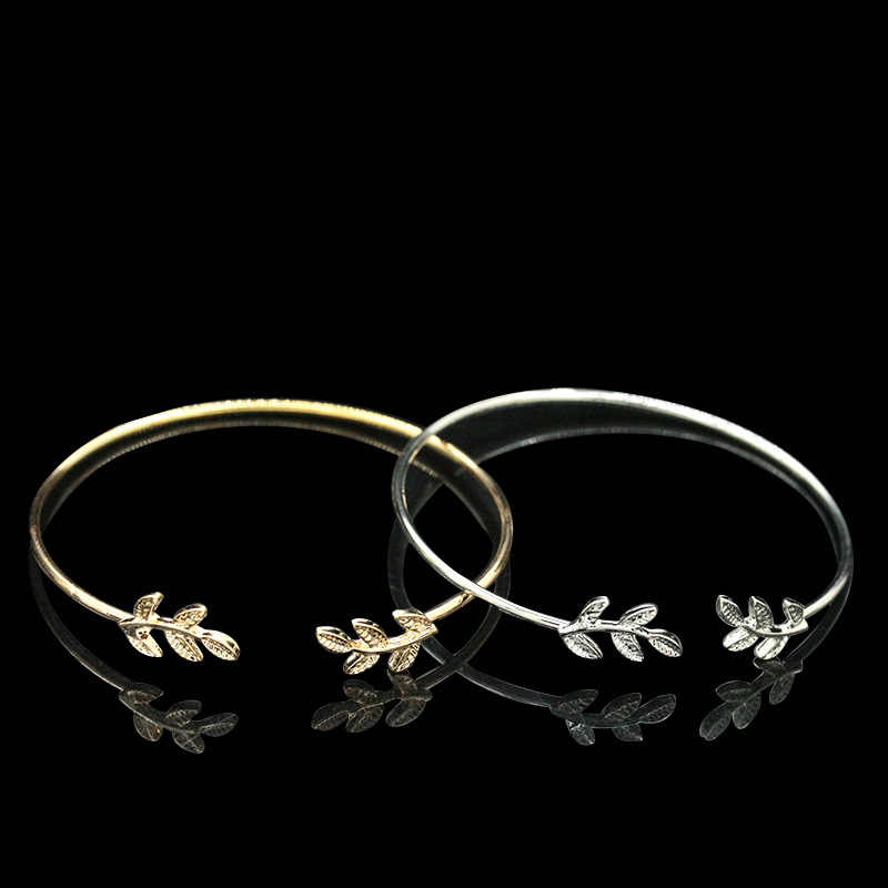 Gold Color Silver Black Leaf Bracelet For Women Simple Leaves Charm Open Cuff Bangles Adjustable Hand Accessories Jewelry