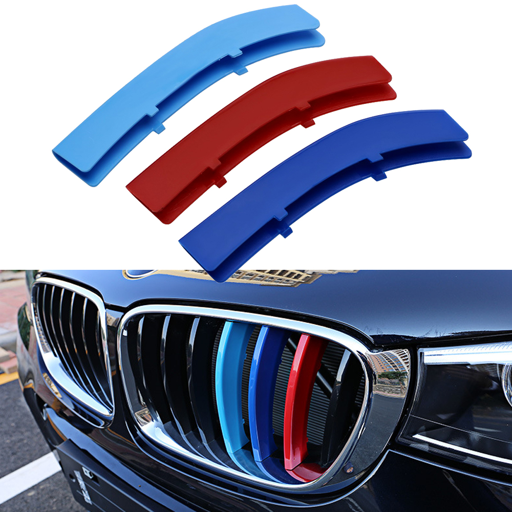 3D Car Front Grille Trim for BMW 5 Series Car Stickers and Decals Sport Strips Cover Motorsport Power Performance Car Styling