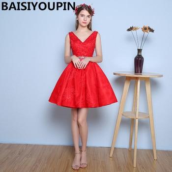 Prom Dresses Fast Shipping Vestido De Debutante Curto 2020 V-Neck  Short Red Homecoming Dresses Cheap