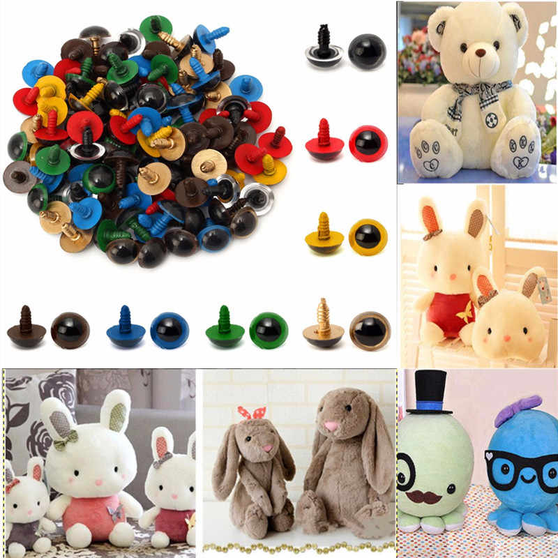 JIMITU 100PCS Colorful 14mm Plastic Safety DIY Doll Toy Eyes For Animal Puppet Crafts Teddy Bear Dolls Accessories with Washers