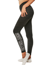 Women Solid Stripe Letter Printing Leggings Girls Elastic Sportswer Workout Outdoor Pants Soft Breathable Fitness Slim Trousers girls stripe elastic jaw pants