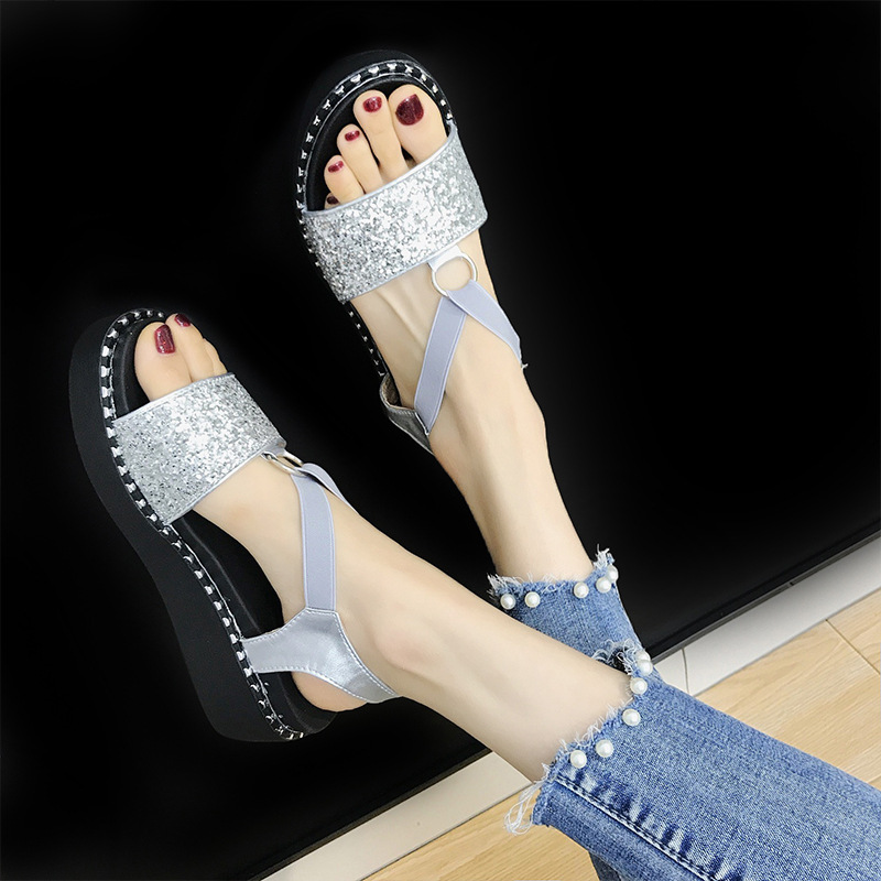 d58c72baaf24b Casual Wedges Toe Wrap Summer Platform Fashion Women Ankle Bling Shoes Open Flat  Women Shoes with ...