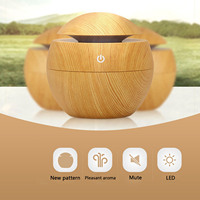 Eletric Wood Grain Ultrasonic Essential Oil Diffuser Cool Moisture Aroma Humidifier Electric Air Freshener with 7 Color Changing