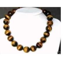 Women Gift gem beads jewelry Beautiful Natural Genuine 10MM tigers-eye necklace