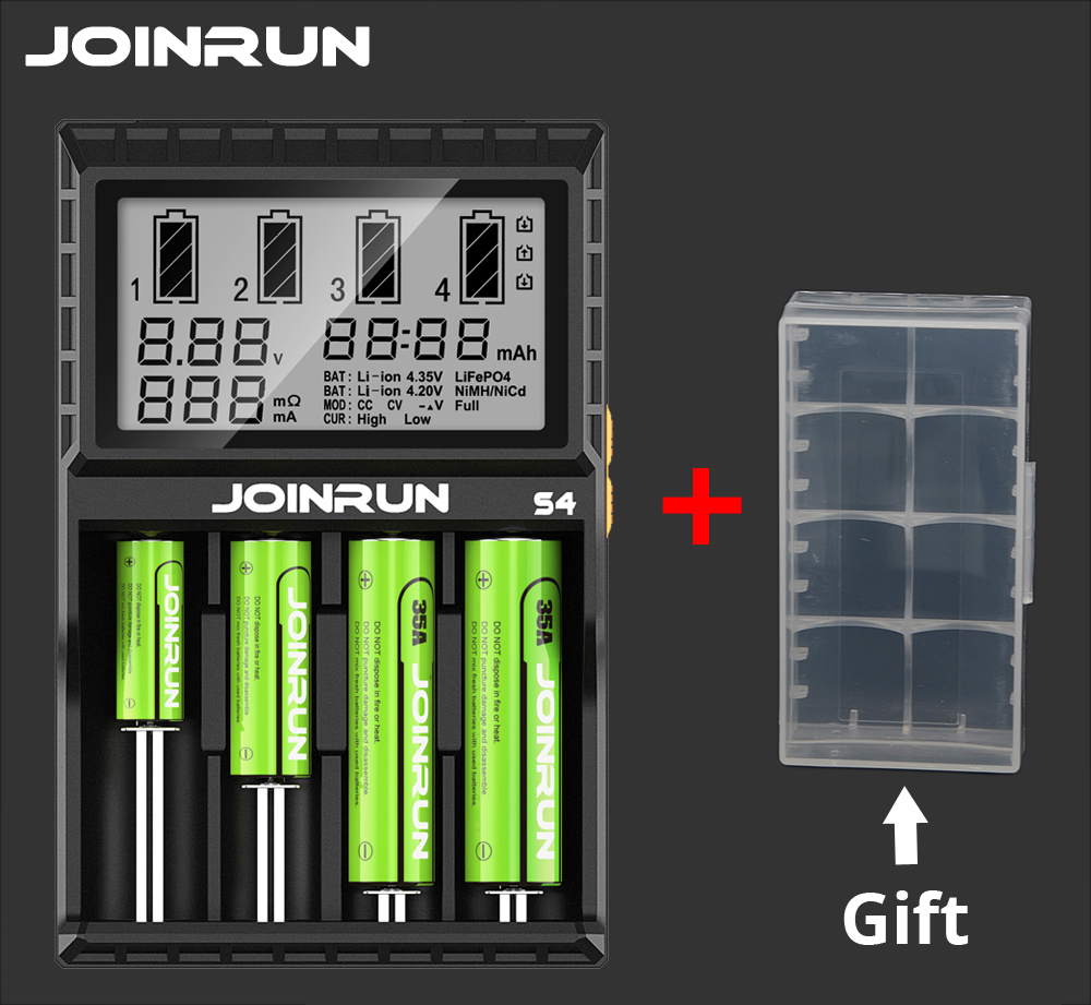 JOINRUN Smart Battery Charger Li-ion Ni-MH Ni-Cd 18650 14500 16340 14650 AAA AA 18650 Battery Charger with free Battery Case dc 12v 2a black battery analyzer tester charger li ion aa aaa 18650 ni mh intelligent volt voltage monitoring