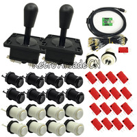 2 Player Mame Arcade USB Kit PC PS3 2 in 1 USB encoder to Joysticks 4/8 way & 16 HAPP Push Buttons