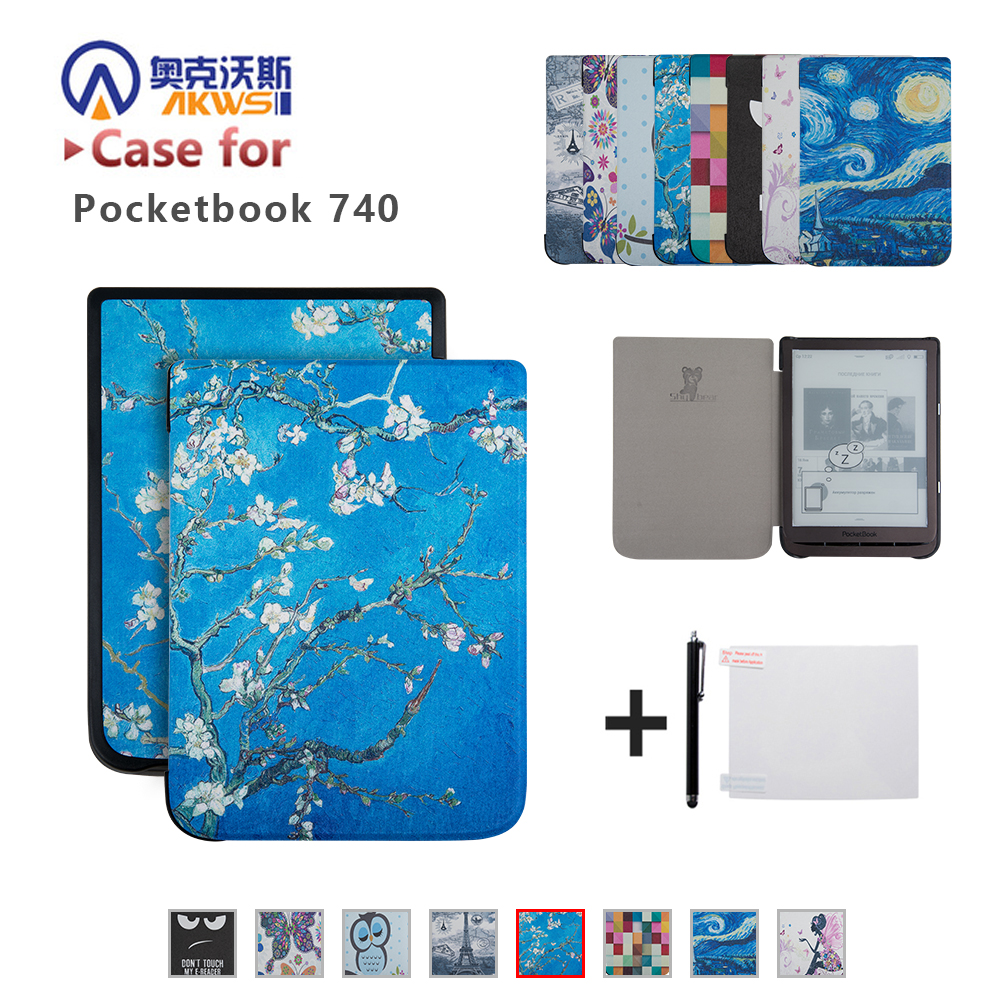 New Arrival Folio PU Book Case for PocketBook 740 InkPad 3 7.8 Inch E-reader Stand Cover+gift cover case for pocketbook 740 7 8 inch e book 740 inkpad 3 smart protective shell tablet case gifts