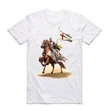 Templar Knight White Print T Shirt 2017 Summer New Men's O-Neck Tshirt Short Sleeve Hipster Swag Harajuku Men's Clothing