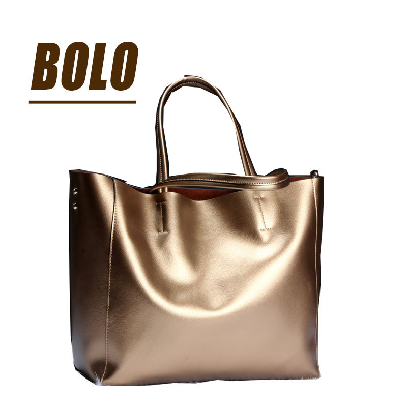 BOLO Brand women Genuine leather bags Women Real leather Handbags Large Shoulder bags Designer Vintage bag Bolsas 2017 new arrival designer women leather handbags vintage saddle bag real genuine leather bag for women brand tote bag with rivet