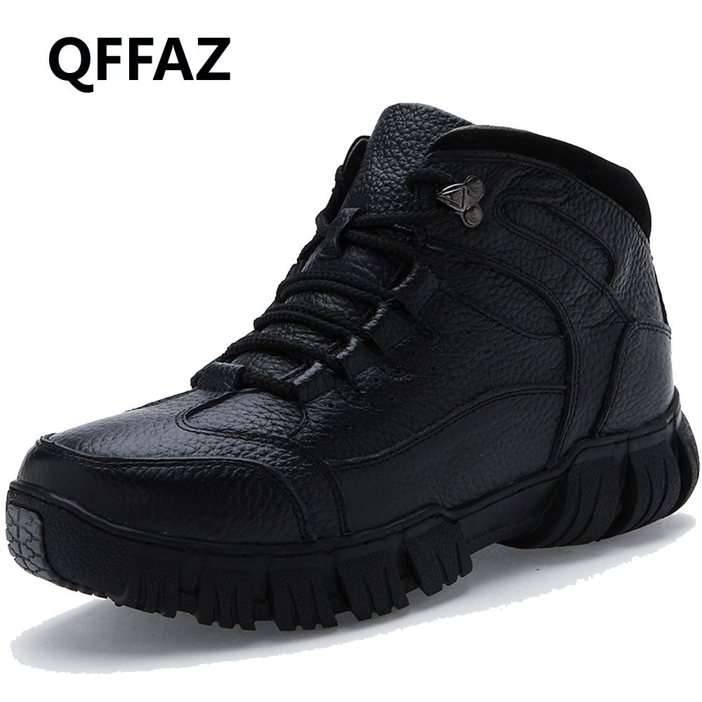 QFFAZ Super Warm Winter Men Boots Genuine Leather Boots Men Winter Shoes Men Military Fur Boots For Men Shoes Zapatos Hombre mens shoes warm fur boots men casual shoes male genuine leather zapatos winter snow boots zapatillas hombre plus size 38 50