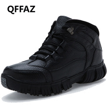 QFFAZ Super Warm Winter Men Boots Genuine Leather Boots Men Winter Shoes Men Military Fur Boots For Men Shoes botas masculina