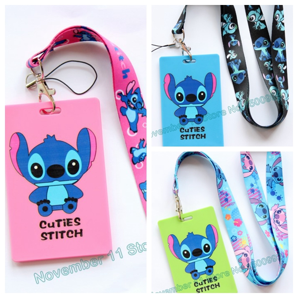 New 1Pcs Stitch Cartoon Lanyard ID Badge Holder Key Neck Strap Kids Gifts QW-470