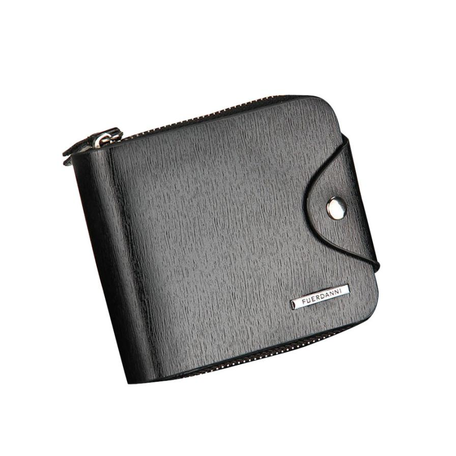 Mens Wallet Leather Credit ID Card Holder Billfold Zip Purse PU Leather Short Wallet Handbag Clutch Black Wholesale Drop Ship #T