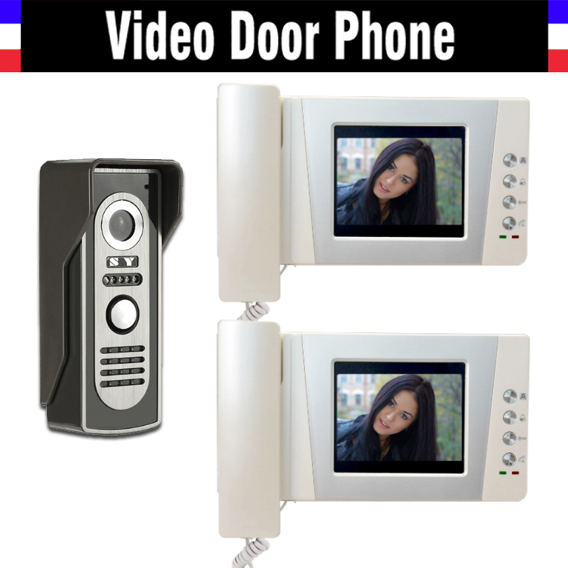 4.3 LCD monitor video doorbell door phone system video interphone kits IR Night Vision Camera video intercom for home 2-Screen 7inch video door phone intercom system for 10apartment tft lcd screen 10 flat indoor monitor night vision cmos outdoor camera