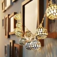 Solar Outdoor Garden Lights 20LED Moroccan Silver Ball Strings Holiday Wedding Garden Decoration Energy Saving Lantern