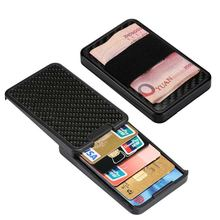 купить New Slide Wallet RFID Blocking Carbon Fiber Card Holder For Men Women Male Female Credit card holder Money Minimalist Purse дешево