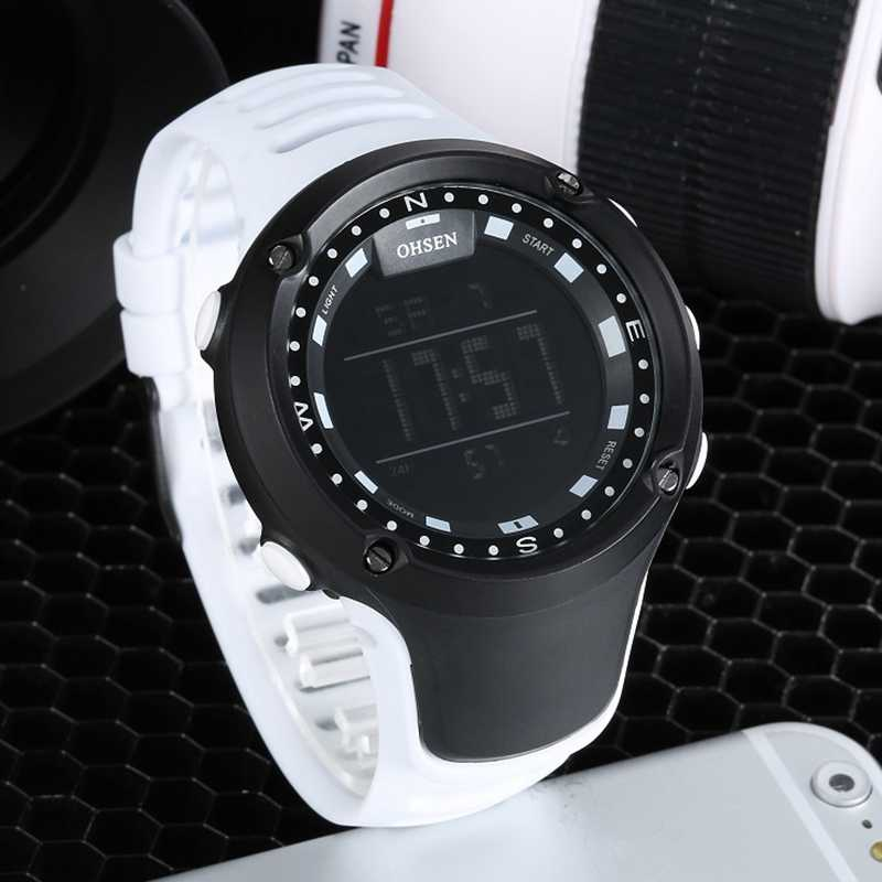 New 2016 OHSEN Brand Fashion LCD Digital Mens Wristwatch 50M Waterproof White Sports Military Hand male Clocks relogio masculino
