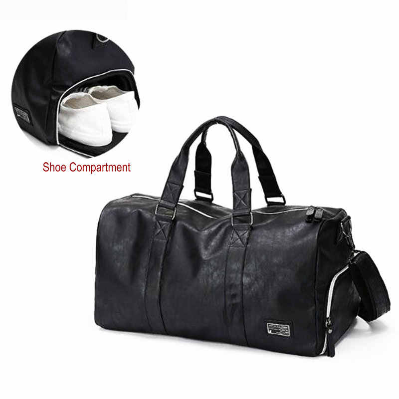 Mens Gym Bag With Compartment For Shoes Women Travel Leather Bag Black PU  Waterproof Bag Camping 362f2a81b50ee