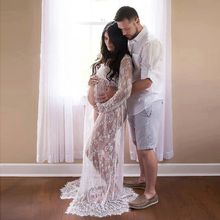 Lace Maternity Dress Gown Wedding Party Maxi Dresses Pregnant Women Long Maxi V Neck Lace Dress Maternity Long Sleeve Clothes