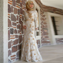 Ivory Muslim Hijab Evening Dress Grand Arabic Chic Formal Dress Long Sleeves Sash Flower-Trimmed Lace Mermaid Islamic Prom Gown