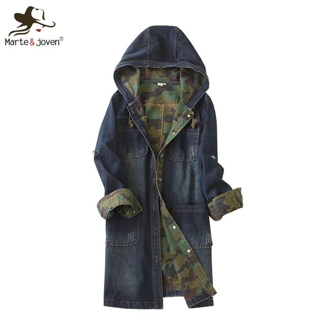 Мода свободного покроя женщин-капюшоном джинсовой пальто с длинными рукавами жан верхняя одежда весна осень с джинсовые пальто дамы с капюшоном жан куртки