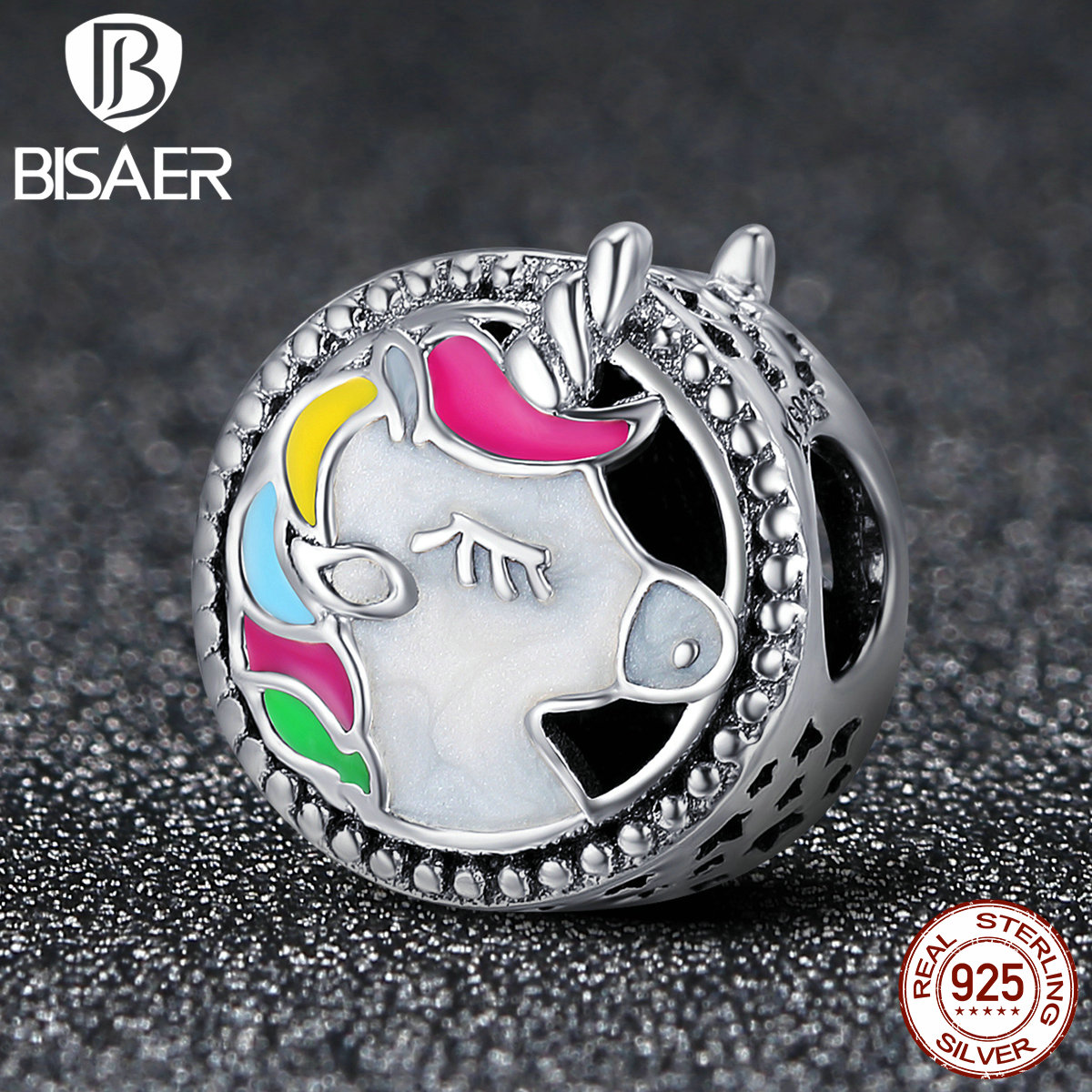 Authentic 100% 925 Sterling Silver Round Shape Animal Licorne Charms Beads Fit Charms Bracelet 925 Silver charm Original Jewelry