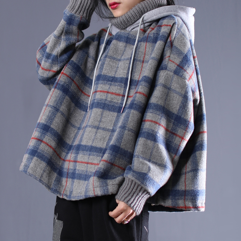 New 2019 female new spring plus size Literary wool high collar hooded stitching plaid material short loose shirt
