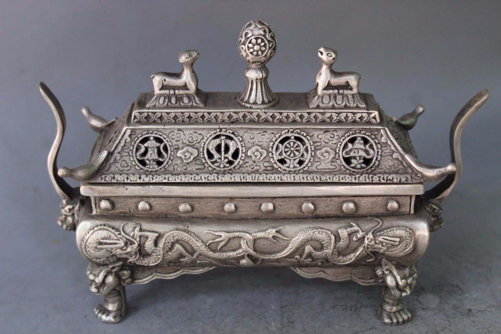 6Tibet buddhism silver Eight treasures Dragon Deer Bird incense burner Censer6Tibet buddhism silver Eight treasures Dragon Deer Bird incense burner Censer