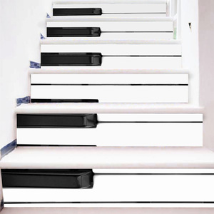Image 3 - 6 個 3D セラミック幾何タイル床壁のステッカーの自己粘着階段ステッカー Diy ルームの階段装飾ホーム