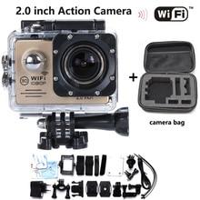 """Nueva Venta Caliente de La Cámara de Acción WIFI 2.0 """"LCD Full HD 1080 P Impermeable 30 M DV Deportes NT96655 Mini Acción Cam Complemento Extra bolsa de La Cámara"""