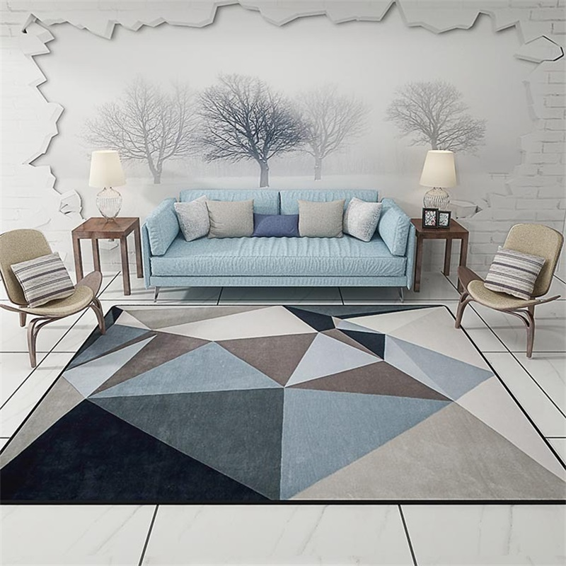 Modern Scandinavian Triangles Geometric Parlor Living Room Decorative Carpet Floor Door Mat Pad Bathroom Kitchen Area Rug Grey