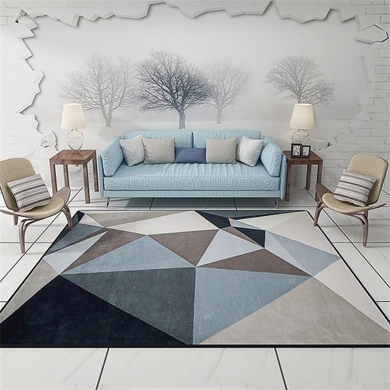 Modern scandinavian triangles geometric parlor living room - Modern carpets for living room ...