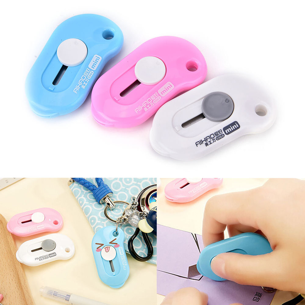 Cute Solid Color Mini Portable Utility Knife Paper Cutter Cutting Paper Razor Blade Office Stationery