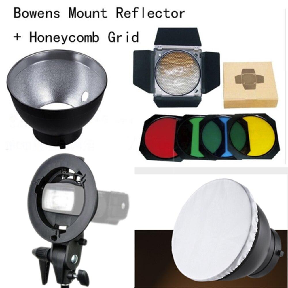 Godox Bowens Mount Reflector BD 04 Barn Door Honeycomb Grid 4 color Filter White diffuser S