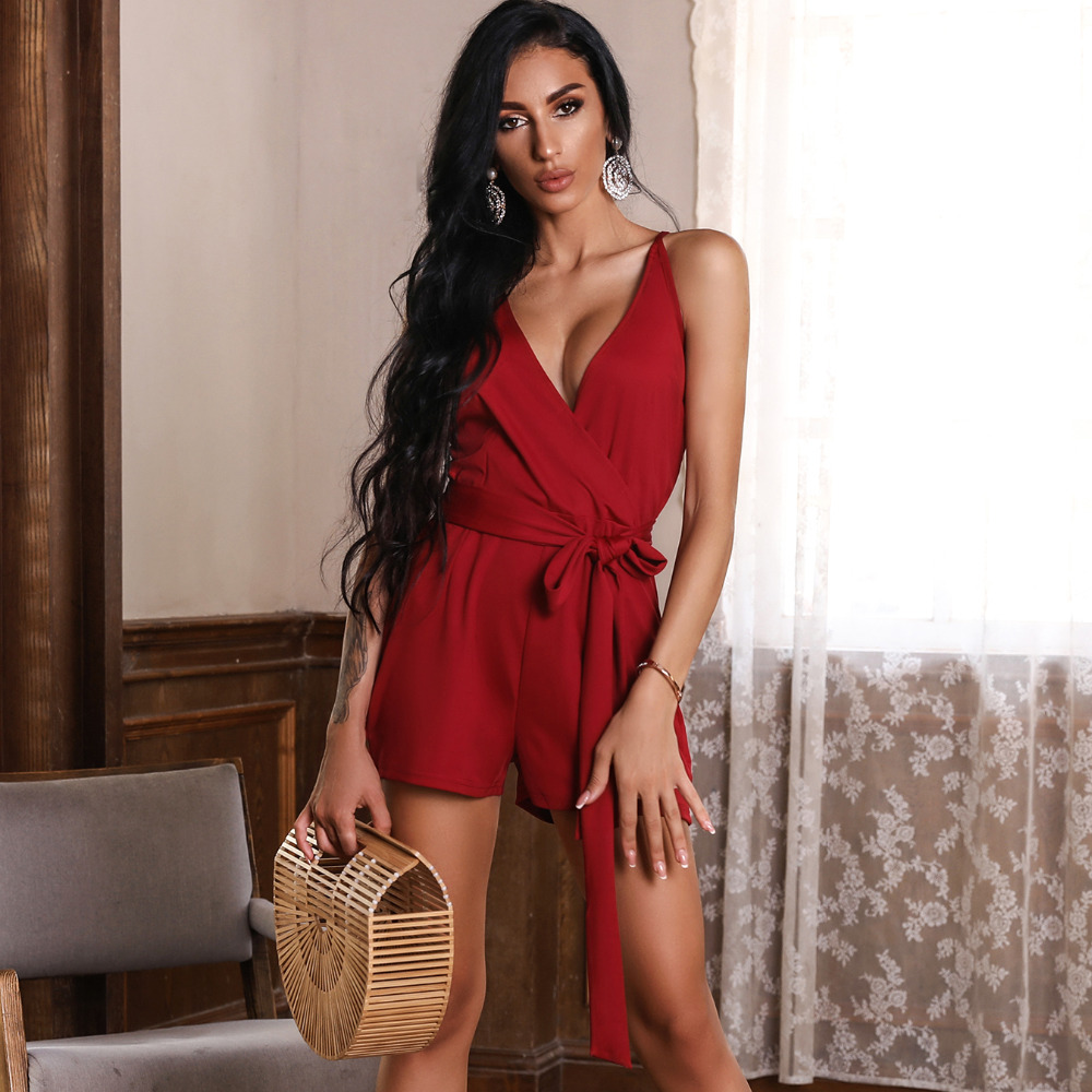 2018 New Fashion Summer Women Stylish Casual Plus Size Playsuit Solid Color Tie Waist Wrap Romper Female Slinky Romper