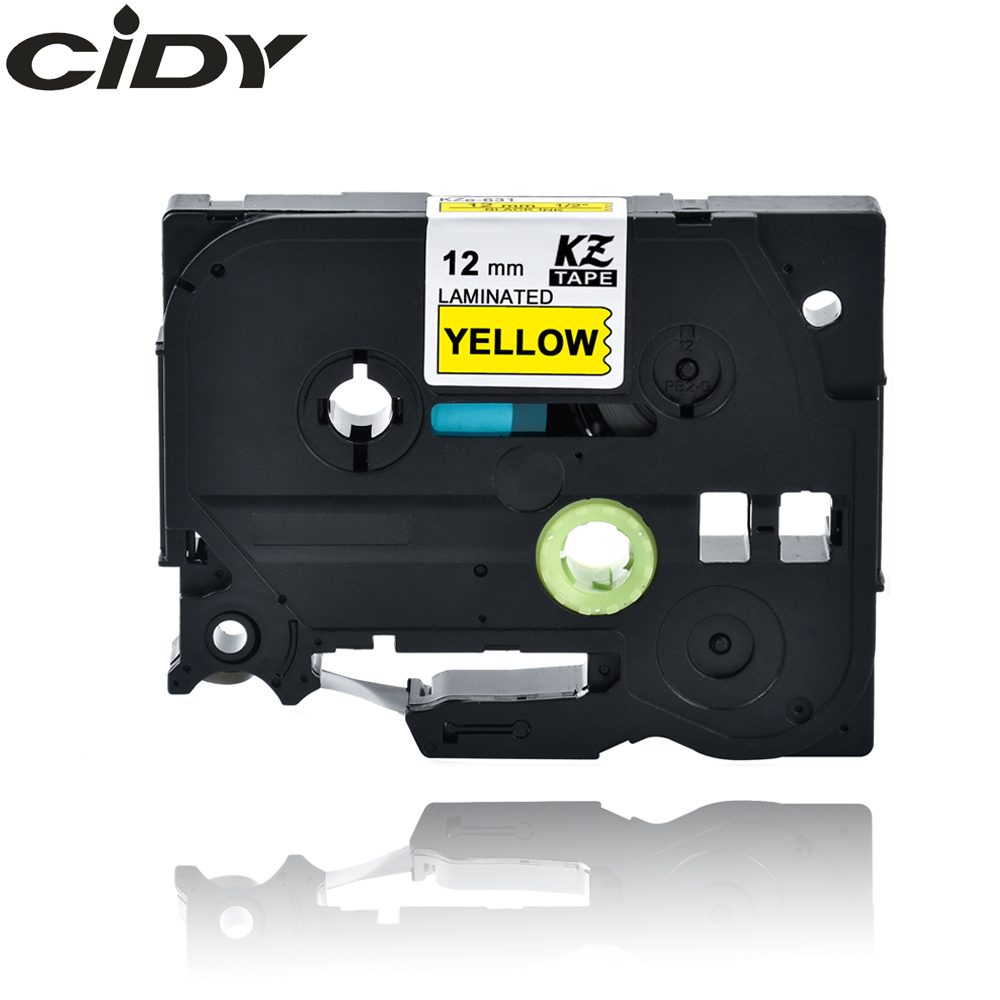 CIDY TZ631 TZ 631 TZe631 TZe 631 Laminated Adhesive Tz-631 Tze-631 Labels Tape P Touch Black On Yellow Compatible For Brother