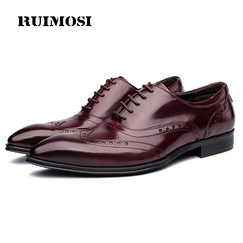 RUIMOSI Vintage Man Wing Tip Brogue Shoes Genuine Leather Formal Dress Oxfords British Style Wedding Bridal Men's Flats GD84