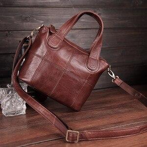 Image 5 - Bolsa de ombro de couro genuíno de patchwork, bolsa de mão feminina transversal