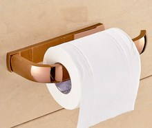 Luxury Rose Gold Brass Square Wall Mounted Bathroom Toilet Paper Roll Holder Bathroom Accessory mba872