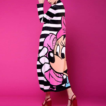 Minnie Black and White Striped long Dress Women Mickey Mous Cartoon Loose Cute big hem casual vestidos Miki Birthday Party