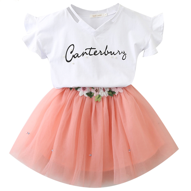 c96e3d5f1d3 2018 New Infant Girls Flower Letter Children Summer Clothing Set Toddler  Kids Butterfly Sleeve T Shirt Tutu Dress Clothes Sets