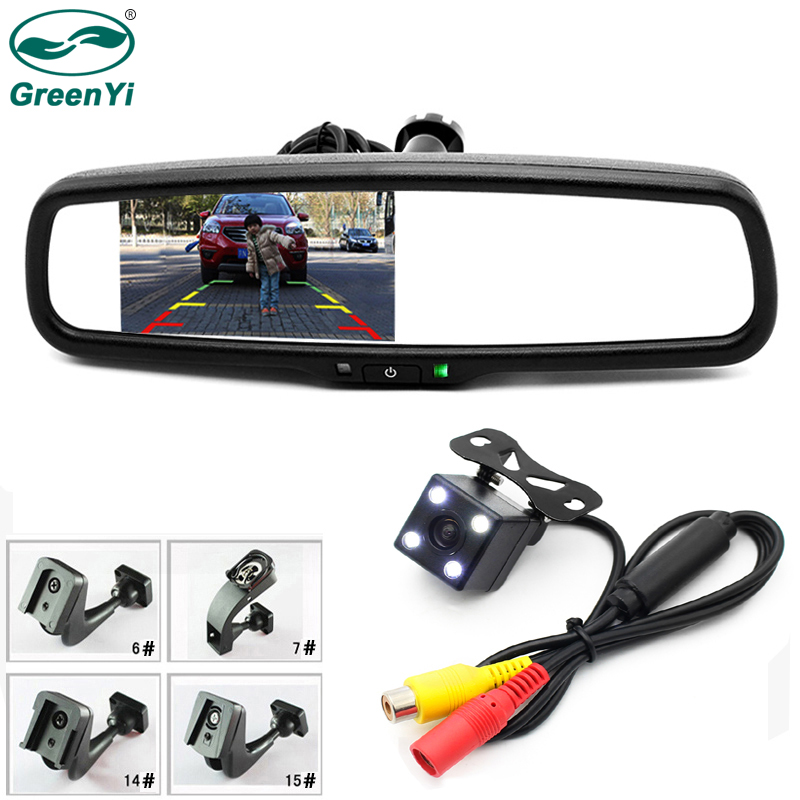 GreenYi Special Bracket 4 3 TFT LCD Color Car Rearview Mirror Monitor with CCD Rear Camera