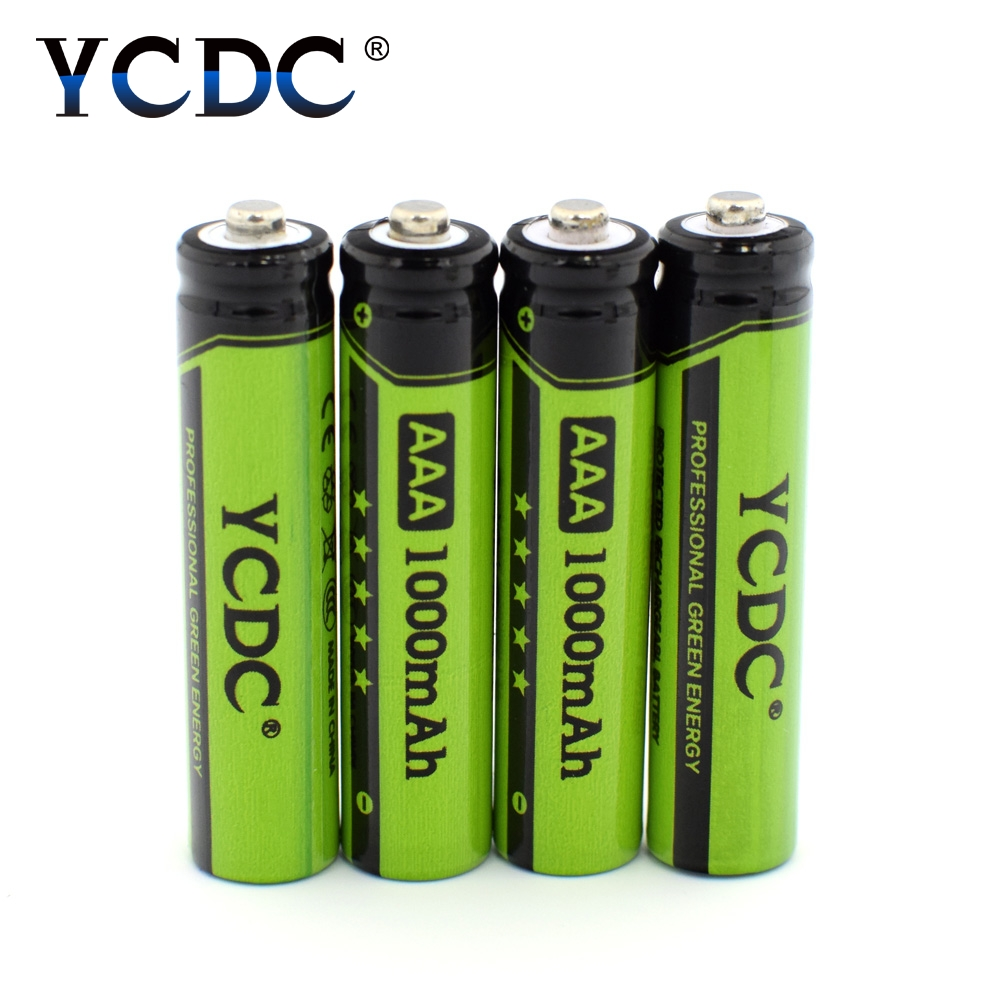 YCDC 4pcs AAA NI-MH Rechargeable Battery 1.2V 1000mAh NIMH Batteries for 1.2 v Toy LED Flashlight Batery Whit Case Box